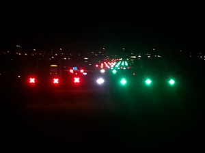 Late night view of the mess of red and green lights on 5400 S.